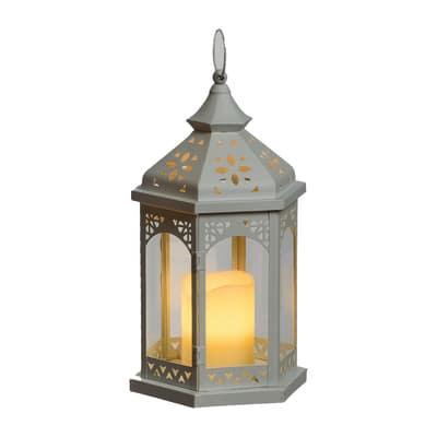 Lanterna con candela 1 minilucciole Led classica gialla L 16,5 x H 34 cm