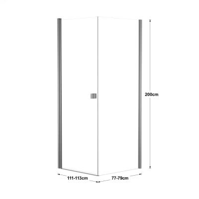Doccia con porta battente e lato fisso Neo 71 - 73 x 77 - 79 cm, H 200 cm vetro temperato 6 mm trasparente/silver