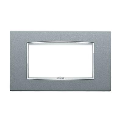Placca 4 moduli Vimar Eikon argento metal