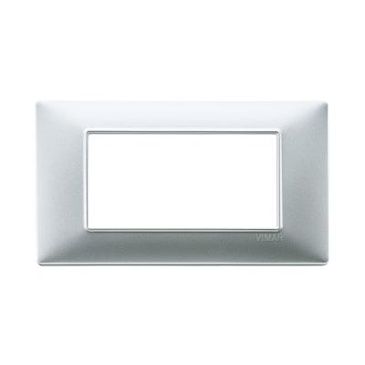 Placca 4 moduli Vimar Plana argento opaco