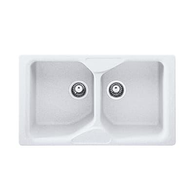 Lavello incasso Calypso bianco L 86 x P  50 cm 2 vasche