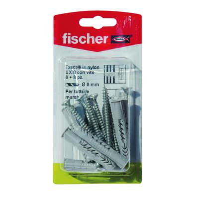 8 tasselli Fischer UX ø 8 x 50  mm con vite