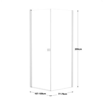Doccia con porta battente e lato fisso Neo 67 - 69 x 77 - 79 cm, H 200 cm vetro temperato 6 mm trasparente/bianco opaco