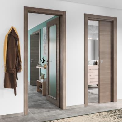Porta da interno rototraslante Stylish grigio 80 x H 210 cm sx
