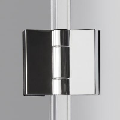 Doccia con porta pieghevole e lato fisso Neo 82 - 86 x 77 - 79 cm, H 201,7 cm vetro temperato 6 mm trasparente/silver