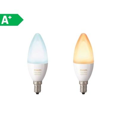 2 lampadine smart LED Philips Hue E14 =40W oliva luce CCT 220°