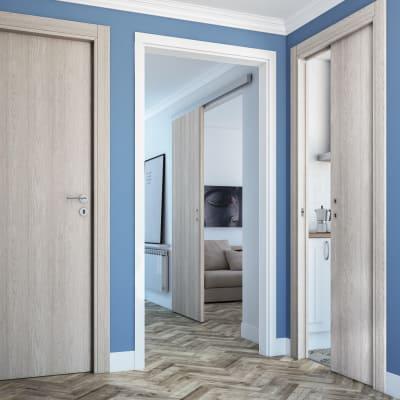 Porta da interno battente One ash wood frassino 70 x H 210 cm reversibile