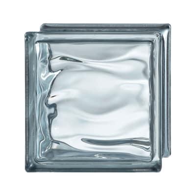 Vetromattone Agua Riflessi grigio ondulato effetto acqua 19 x 19 x 8 cm