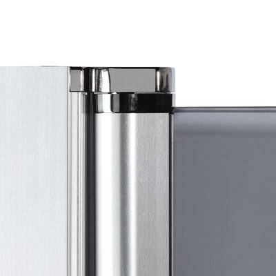 Doccia con porta battente e lato fisso Neo 69 - 71 x 77 - 79 cm, H 201,7 cm vetro temperato 6 mm trasparente/cromo PVD