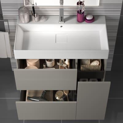 Mobile bagno Neo Line L 90 x P 48 x H 64 cm 1 anta + 2 cassetti grigio chiaro