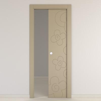 Porta da interno scorrevole Flower taupe tortora 70 x H 210 cm reversibile