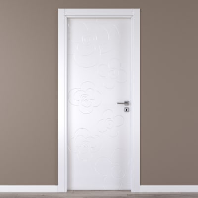 Porta da interno battente Flower white bianco 80 x H 210 cm sx