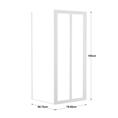 Doccia con porta pieghevole e lato fisso Elba 66 - 72 x 78 - 82 cm, H 185 cm acrilico 3 mm stampato