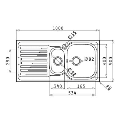 Lavello incasso Amaltia L 100 x P  50 cm 1 vasca 1/2 DX + gocciolatoio