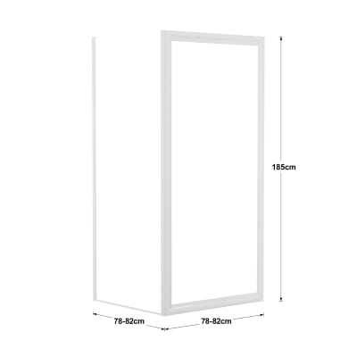 Doccia con porta battente e lato fisso Elba 78 - 82 x 78 - 82 cm, H 185 cm acrilico 3 mm stampato/bianco lucido
