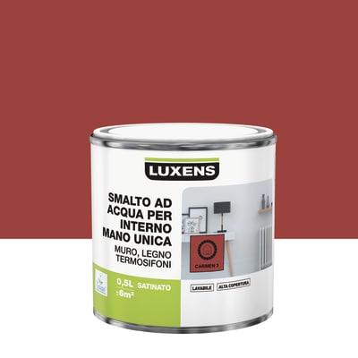 Smalto manounica Luxens all'acqua Rosso Carmen 3 satinato 0.5 L