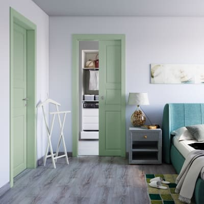 Porta da interno scorrevole New York verde 90 x H 210 cm reversibile