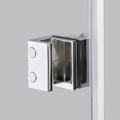 Doccia con porta battente e lato fisso Neo 99 - 101 x 77 - 79 cm, H 200 cm vetro temperato 6 mm cromo PVD
