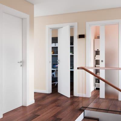 Porta da interno battente Plaza Vetro frassino bianco 90 x H 210 cm dx