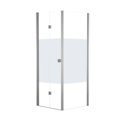 Doccia con porta pieghevole e lato fisso Neo 67 - 71 x 77 - 79 cm, H 201,7 cm vetro temperato 6 mm serigrafato/bianco opaco