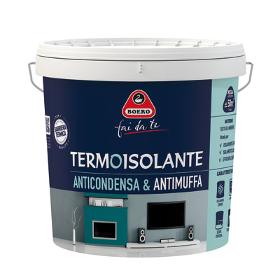 Idropittura antimuffa termoisolante bianca boero 10 l for Pittura lavabile prezzi leroy merlin