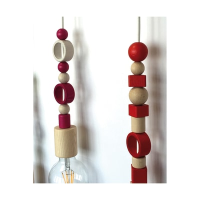 11 Perline in legno bianco