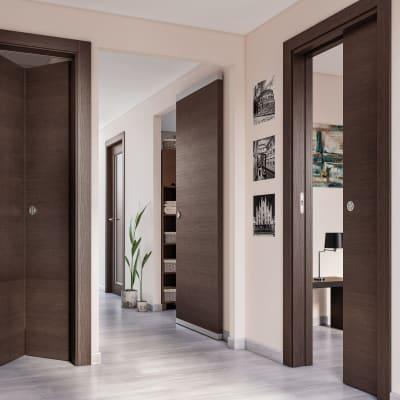 Porta da interno pieghevole Timber Fumo 80 x H 210 cm dx
