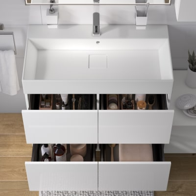 Mobile bagno Neo Line L 90 x P 48 x H 64 cm 4 cassetti bianco