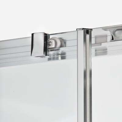 Doccia con porta scorrevole e lato fisso Dado 97 - 100 x 77.5 - 79 cm, H 185 cm cristallo 5 mm serigrafato/silver