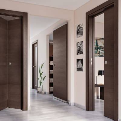 Porta da interno battente Timber vetro Fumo 90 x H 210 cm reversibile
