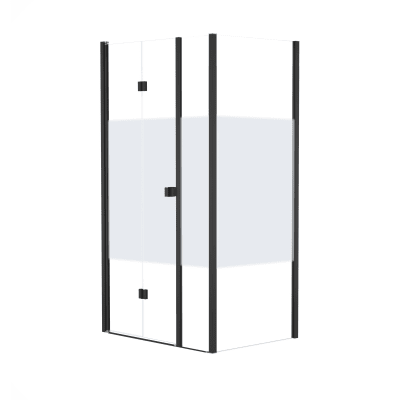 Doccia con porta pieghevole lato fisso in linea e lato fisso Neo 72 - 76 + 40 cm x 77 - 79 cm, H 201,7 cm vetro temperato 6 mm serigrafato/nero