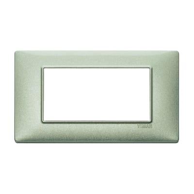 Placca 4 moduli Vimar Plana verde metallizzato